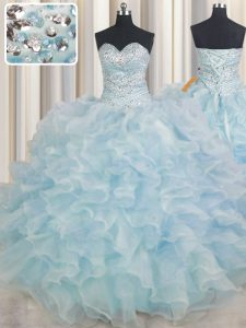High Quality Sleeveless Organza Floor Length Lace Up 15th Birthday Dress in Light Blue with Beading and Ruffles