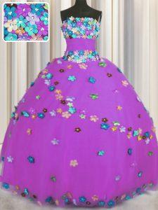 Sleeveless Lace Up Floor Length Hand Made Flower 15th Birthday Dress