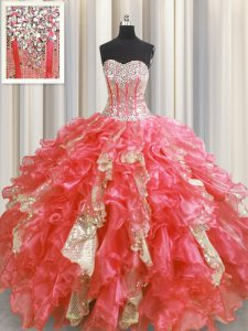 Sexy Visible Boning Watermelon Red Sweetheart Neckline Beading and Ruffles and Sequins Sweet 16 Quinceanera Dress Sleeve