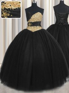 On Sale Black Tulle Lace Up Quinceanera Gown Sleeveless Floor Length Beading and Appliques and Ruching and Belt