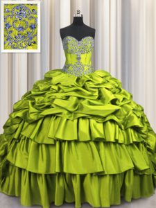 Brush Train Olive Green Lace Up Sweetheart Beading and Embroidery and Ruffled Layers and Pick Ups Vestidos de Quinceaner