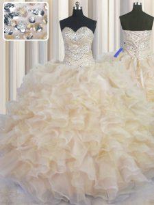 Hot Selling Sleeveless Lace Up Floor Length Beading and Ruffles 15th Birthday Dress