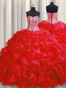Visible Boning Floor Length Red 15 Quinceanera Dress Organza Sleeveless Beading and Ruffles