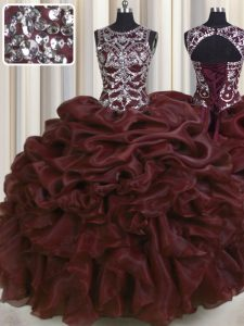 See Through Burgundy Lace Up Vestidos de Quinceanera Beading and Pick Ups Sleeveless Floor Length