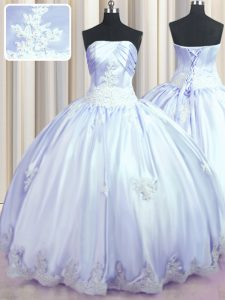 On Sale Appliques Sweet 16 Dresses Lavender Lace Up Sleeveless Floor Length