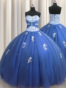 Royal Blue Ball Gowns Beading and Appliques Sweet 16 Quinceanera Dress Lace Up Tulle Sleeveless Floor Length