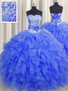 Handcrafted Flower Royal Blue Organza Lace Up Sweetheart Sleeveless Floor Length Vestidos de Quinceanera Beading and Ruf