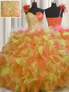 Delicate One Shoulder Handcrafted Flower Floor Length Ball Gowns Sleeveless Multi-color Quinceanera Gowns Lace Up