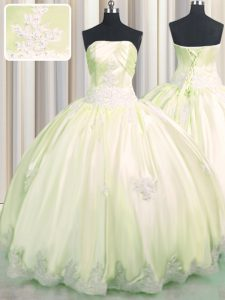 Admirable Light Yellow Sleeveless Floor Length Beading and Appliques Lace Up Quinceanera Gown