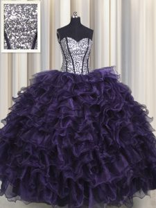 Visible Boning Sleeveless Floor Length Ruffles and Sequins Lace Up Quinceanera Gown with Purple