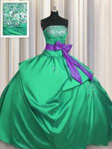 Edgy Pick Ups Bowknot Strapless Sleeveless Lace Up Quinceanera Dresses Green Satin