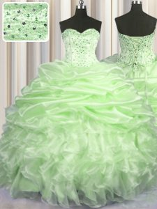 Hot Selling Yellow Green Sweetheart Neckline Beading and Ruffles and Pick Ups Quinceanera Gowns Sleeveless Lace Up