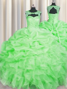 Attractive Scoop Sleeveless Floor Length Beading and Pick Ups Lace Up Sweet 16 Quinceanera Dress with