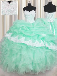 Customized Floor Length Lace Up Sweet 16 Dresses Apple Green for Military Ball and Sweet 16 and Quinceanera with Beading