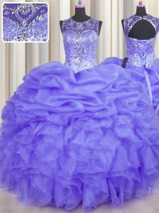 See Through Ball Gowns Vestidos de Quinceanera Lavender Scoop Organza Sleeveless Floor Length Lace Up