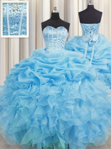 Visible Boning Organza Sweetheart Sleeveless Lace Up Beading and Ruffles and Pick Ups Sweet 16 Quinceanera Dress in Baby