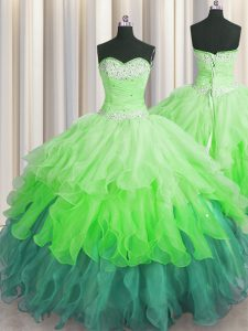 Sequins Ruffled Floor Length Multi-color Sweet 16 Dress Sweetheart Sleeveless Lace Up