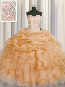 Sleeveless Floor Length Beading and Ruffles Lace Up Quince Ball Gowns with Gold