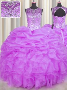 New Arrival See Through Lilac Scoop Backless Beading and Ruffles and Pick Ups Quinceanera Dress Sleeveless