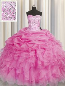 Sleeveless Floor Length Beading and Ruffles Lace Up Quinceanera Dress with Rose Pink