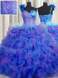 Handcrafted Flower One Shoulder Sleeveless Lace Up Sweet 16 Quinceanera Dress Multi-color Tulle