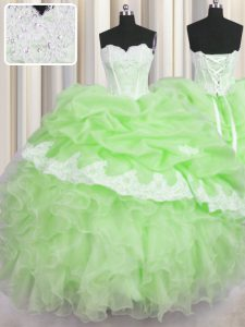 Sleeveless Beading and Ruffles and Pick Ups Lace Up Sweet 16 Quinceanera Dress