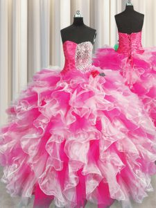 Most Popular Sweetheart Sleeveless Organza Quinceanera Dress Beading and Ruffles and Ruching Lace Up