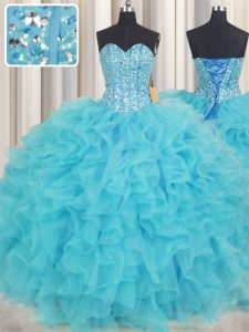 Lovely Visible Boning Baby Blue Sleeveless Beading and Ruffles Floor Length Quinceanera Gown