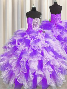 Floor Length Ball Gowns Sleeveless White And Purple Quince Ball Gowns Lace Up