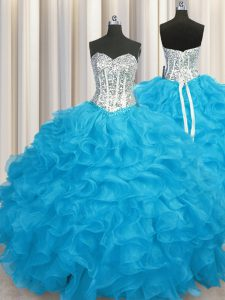 Glamorous Long Sleeves Organza Floor Length Lace Up 15th Birthday Dress in Aqua Blue with Beading and Ruffles