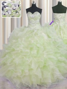 Classical Yellow Green Ball Gowns Organza Sweetheart Sleeveless Beading and Ruffles Floor Length Lace Up Vestidos de Qui