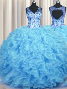 Floor Length Baby Blue Quince Ball Gowns V-neck Sleeveless Zipper