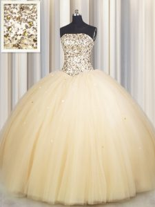 Really Puffy Gold Ball Gowns Strapless Sleeveless Tulle Floor Length Lace Up Beading and Sequins Ball Gown Prom Dress