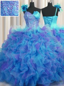 Exquisite One Shoulder Handcrafted Flower Multi-color Sleeveless Tulle Lace Up Sweet 16 Dress for Military Ball and Swee