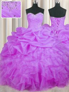 Purple Sweetheart Lace Up Beading and Ruffles and Pick Ups Quince Ball Gowns Sleeveless