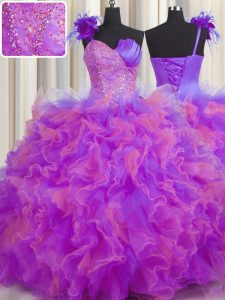 Elegant One Shoulder Handcrafted Flower Multi-color Ball Gowns Beading and Ruffles and Hand Made Flower Sweet 16 Dresses