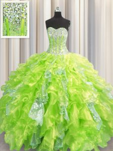 Discount Visible Boning Yellow Green Sleeveless Floor Length Beading and Ruffles and Sequins Lace Up Quince Ball Gowns