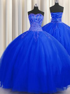 Puffy Skirt Royal Blue Sleeveless Beading Floor Length Quinceanera Gown