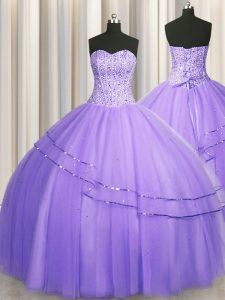 Visible Boning Big Puffy Ball Gowns Quinceanera Dress Lavender Sweetheart Tulle Sleeveless Floor Length Lace Up