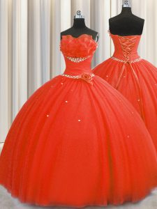 Flirting Handcrafted Flower Floor Length Ball Gowns Sleeveless Coral Red Vestidos de Quinceanera Lace Up