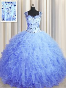 See Through Zipper Up Square Sleeveless Zipper Quinceanera Gown Light Blue Tulle