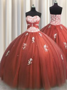 Trendy Sleeveless Beading and Appliques Lace Up 15 Quinceanera Dress