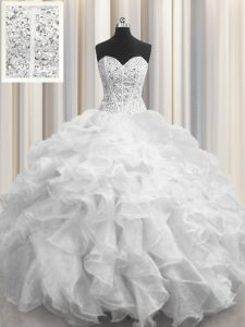 Visible Boning White Organza Lace Up Quinceanera Gowns Sleeveless Floor Length Beading and Ruffles