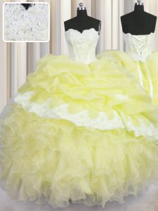 New Style Sleeveless Organza Floor Length Lace Up Quinceanera Gowns in Light Yellow with Beading and Appliques and Ruffl