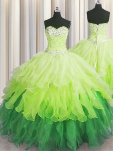Multi-color Ball Gowns Organza Sweetheart Sleeveless Beading and Ruffles and Ruffled Layers and Sequins Floor Length Lac