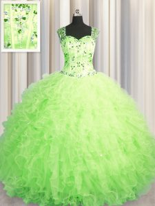 Custom Design See Through Zipper Up Green Tulle Zipper Straps Sleeveless Floor Length Ball Gown Prom Dress Beading and R