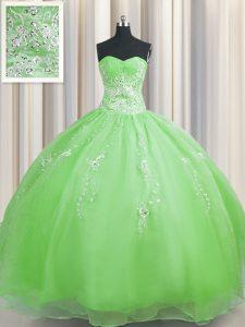 Zipper Up Ball Gowns Organza Sweetheart Sleeveless Beading and Appliques Floor Length Zipper 15 Quinceanera Dress