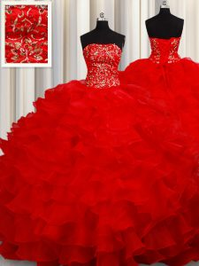 Sleeveless Floor Length Beading and Embroidery and Ruffles Lace Up Quince Ball Gowns with Red