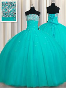 Popular Sequins Aqua Blue Sleeveless Tulle Lace Up 15th Birthday Dress for Military Ball and Sweet 16 and Quinceanera
