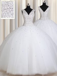 Nice Straps Sleeveless Tulle Floor Length Zipper Quinceanera Dress in White with Beading and Sequins